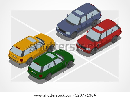 Crossover car for Isometric world - stock vector