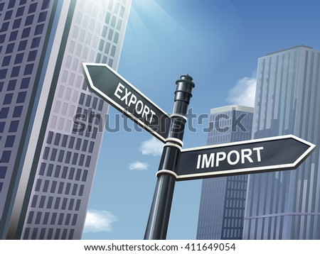 crossroad 3d illustration black road sign saying import and export - stock vector