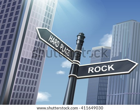 crossroad 3d illustration black road sign saying rock and hard place - stock vector