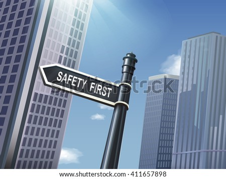 crossroad 3d illustration black road sign saying safety first - stock vector