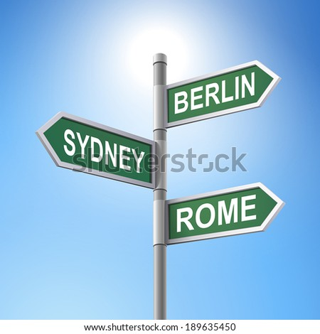 crossroad 3d vector road sign saying berlin and rome and sydney - stock vector