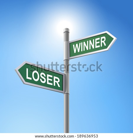 crossroad 3d vector road sign saying loser and winner