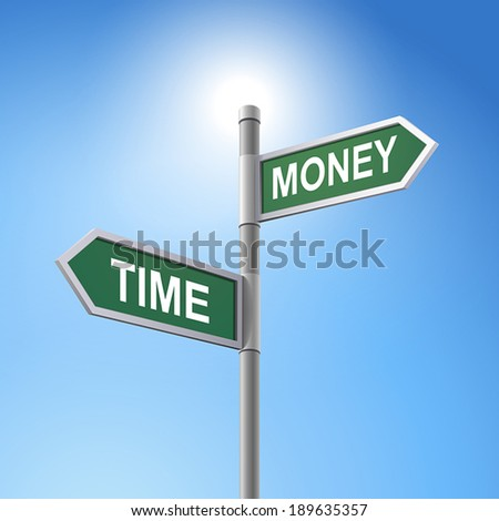 crossroad 3d vector road sign saying time and money