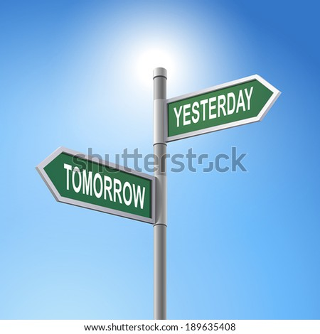 crossroad 3d vector road sign saying tomorrow and yesterday - stock vector