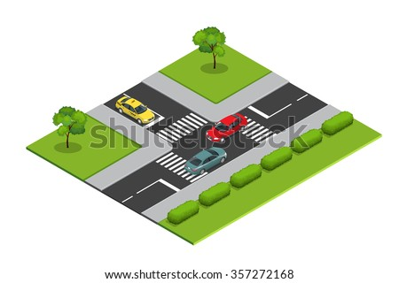 Crossroads and road markings isometric vector illustration for infographics. Transport car, urban and asphalt, traffic. Crossing Roads. City traffic.