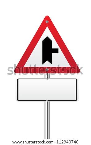 Crossroads Warning Main Road Traffic Sign - stock vector