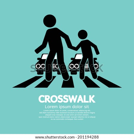 Crosswalk Graphic Sign Vector Illustration - stock vector