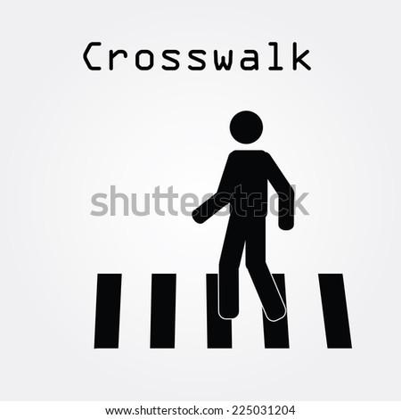 Crosswalk Graphic Sign Vector Illustration,man walk on crosswalk icon,man icon - stock vector