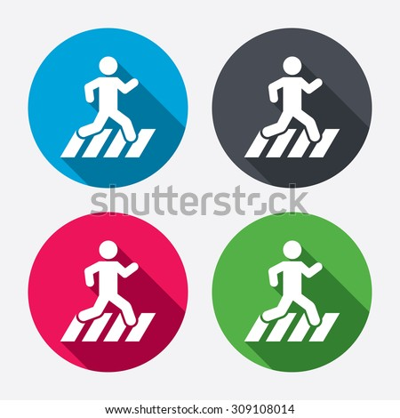 Crosswalk icon. Crossing street sign. Circle buttons with long shadow. Vector - stock vector