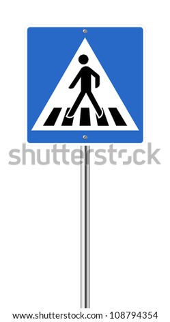 Crosswalk road sign isolated on white - stock vector