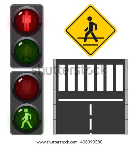 Crosswalk symbol, traffic light, man stands walk and run, vector illustration - stock vector
