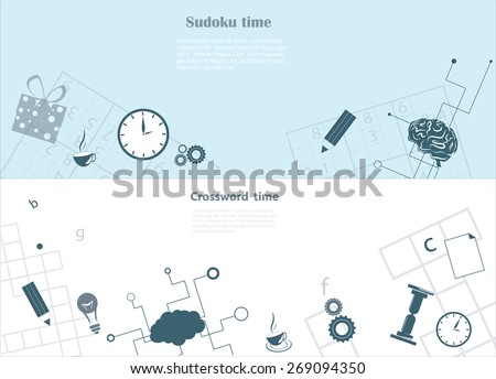 Crossword and sudoku background with relevant objects on it - stock vector