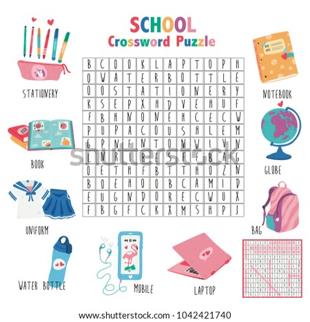 Crossword Game About School For Kids Word Search Puzzle With Vocabulary And The Answer