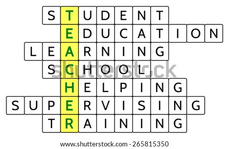 Crossword puzzle for the word Teacher (highlighted) and related words Student, Education, Learning, School, Helping, Supervising, Training, for illustrating the concept of teaching