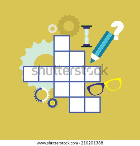 Crossword puzzle with different icons - vector illustration - stock vector