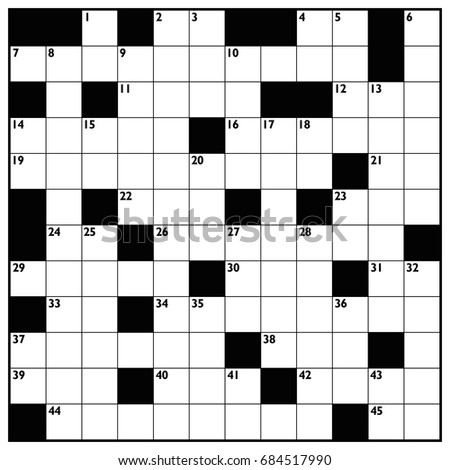 Blank Newspaper Style Crossword Puzzle Numbers Stock Illustration