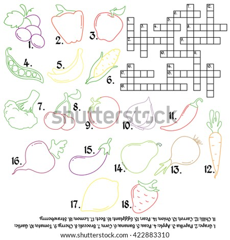 Crossword with vegetables and fruits. educational game. Vegetables and fruits in a flat style. Linear icons. - stock vector