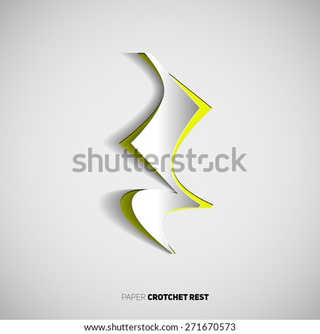 Crotchet Rest Note Symbol Papercut Style Stock Vector 271670573
