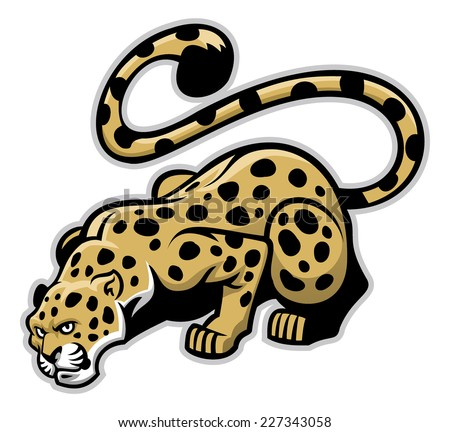 crouching leopard mascot - stock vector