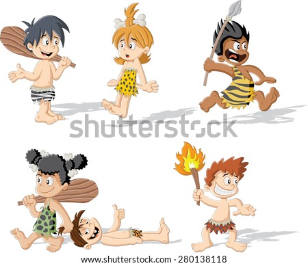 Croup of cartoon caveman children - stock vector