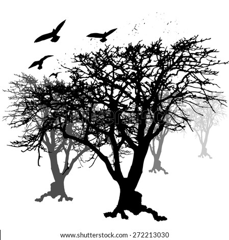 crow and trees backgrounds. - stock vector
