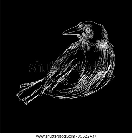 Crow free hand style original design - stock vector
