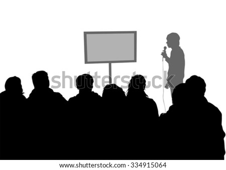 Crowd and speaker at presentation in office on a white background - stock vector