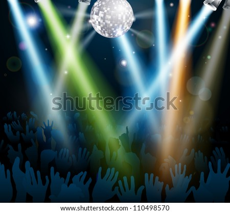 Crowd dancing at a concert or on a disco nightclub dance floor with hands up under a mirror ball with lights - stock vector