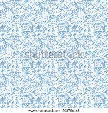 crowd funny people doodle - stock vector