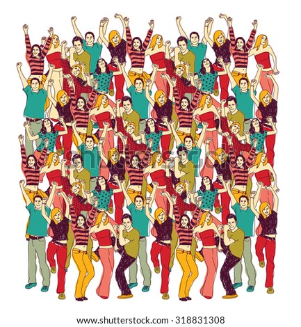 Crowd happy people isolate on white. Group of active happy people team isolated on white. Color vector illustration. EPS 8 - stock vector