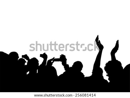 Crowd in front of the stage on a white background - stock vector