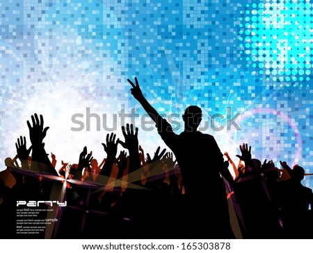 Crowd infront of a stage. Vector