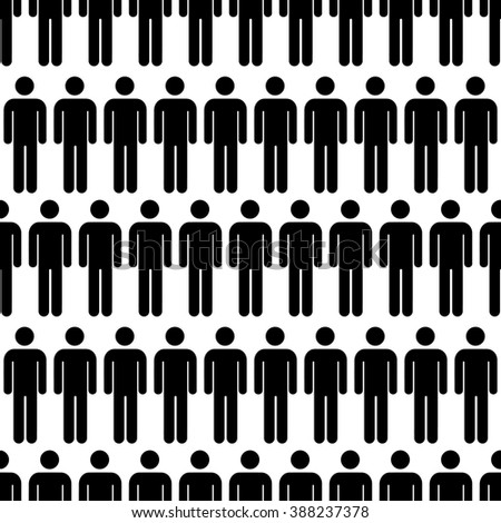 Crowd of black simple men icons on white, seamless pattern - stock vector