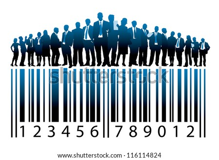Crowd of businesspeople are standing on a large bar code - stock vector