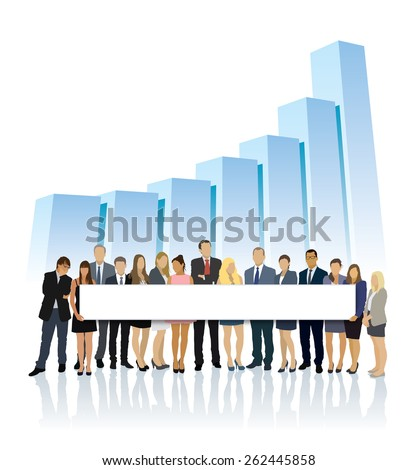 Crowd of businesspeople standing in front of large chart and holding big long billboard - stock vector