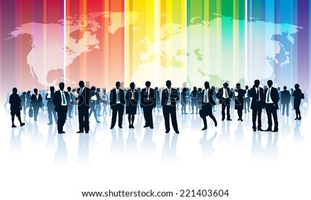 Crowd of businesspeople standing over a world map with a rainbow - stock vector