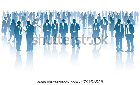 Crowd of businesspeople standing over white background - stock vector
