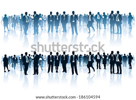 Crowd of businesspeople standing over white background