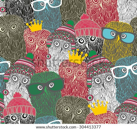 Crowd of cute doodle owl. Vector seamless pattern.