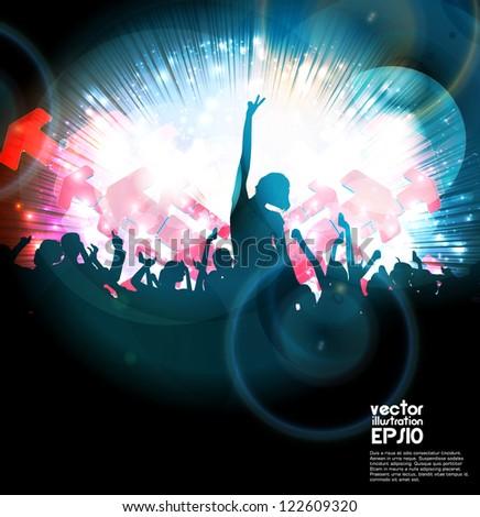 Crowd of dancing people. Vector - stock vector