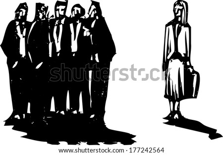 Crowd of men in business suits excluding a woman with briefcase. - stock vector