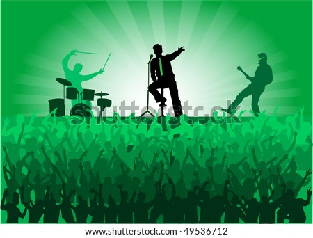crowd of people at the concert - stock vector