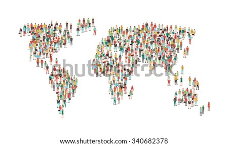 Crowd of people composing a world map, aerial view, global community, international communications and human rights concept - stock vector