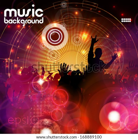Crowd of people. Concert illustration - stock vector