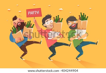 """Crowd of people going to the party. Youth lifestyle. Three happy young men with packages of beer, pizza and """"Party"""" placard. Colorful vector illustration in flat style - stock vector"""