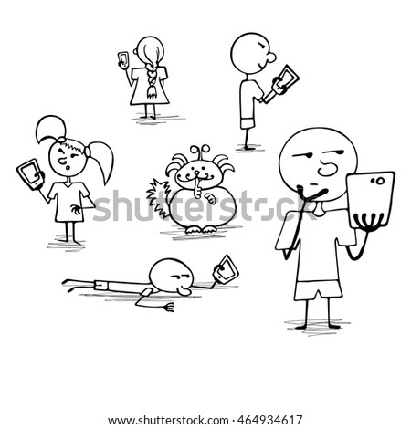 Crowd of people playing game on their smartphones. Searching and catching cute unusual animals. Vector illustration, hand drawn doodle style.