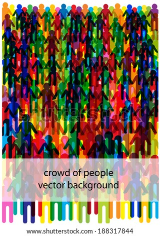 crowd of people silhouettes with frame for your text - stock vector