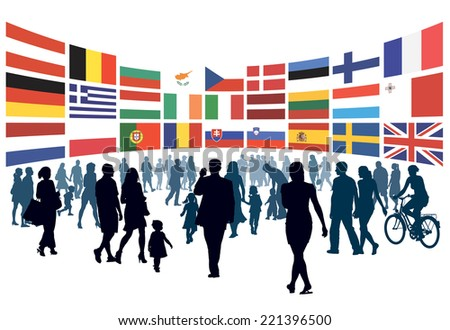 Crowd of people walking to national flags of european countries.  - stock vector