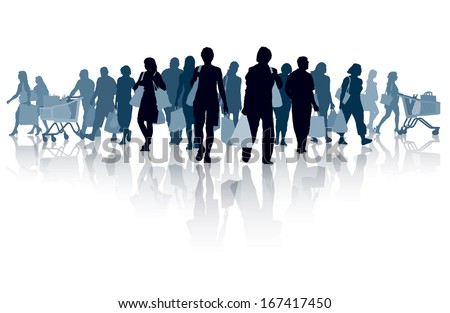 Crowd of shopping people. Happy people holding shopping bags. EPS 10.  - stock vector