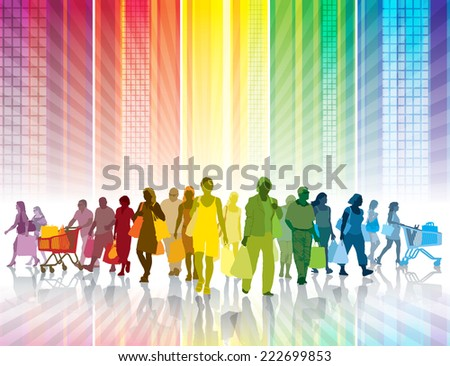 Crowd of shopping people in a colorful city